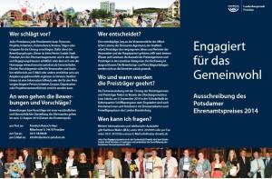 Flyer Ehrenamtspreis Potsdam